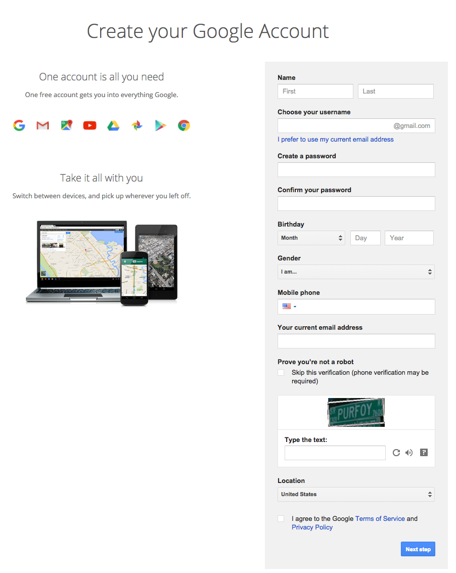 create google